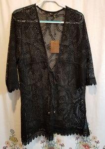 Nwt black mesh swim suit coverup 1x